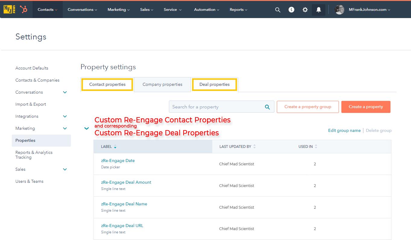 01-mfjlabs-screenshot-Custom-Re-Engage-Contact-Properties-and-Corresponding-Custom-Re-Engage-Deal-Properties