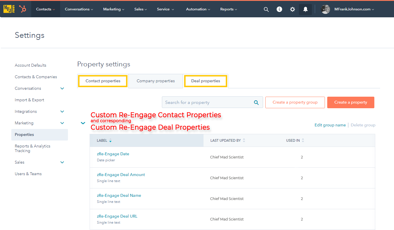 01-mfjlabs-screenshot-Custom-Re-Engage-Contact-Properties-and-Corresponding-Custom-Re-Engage-Deal-Properties